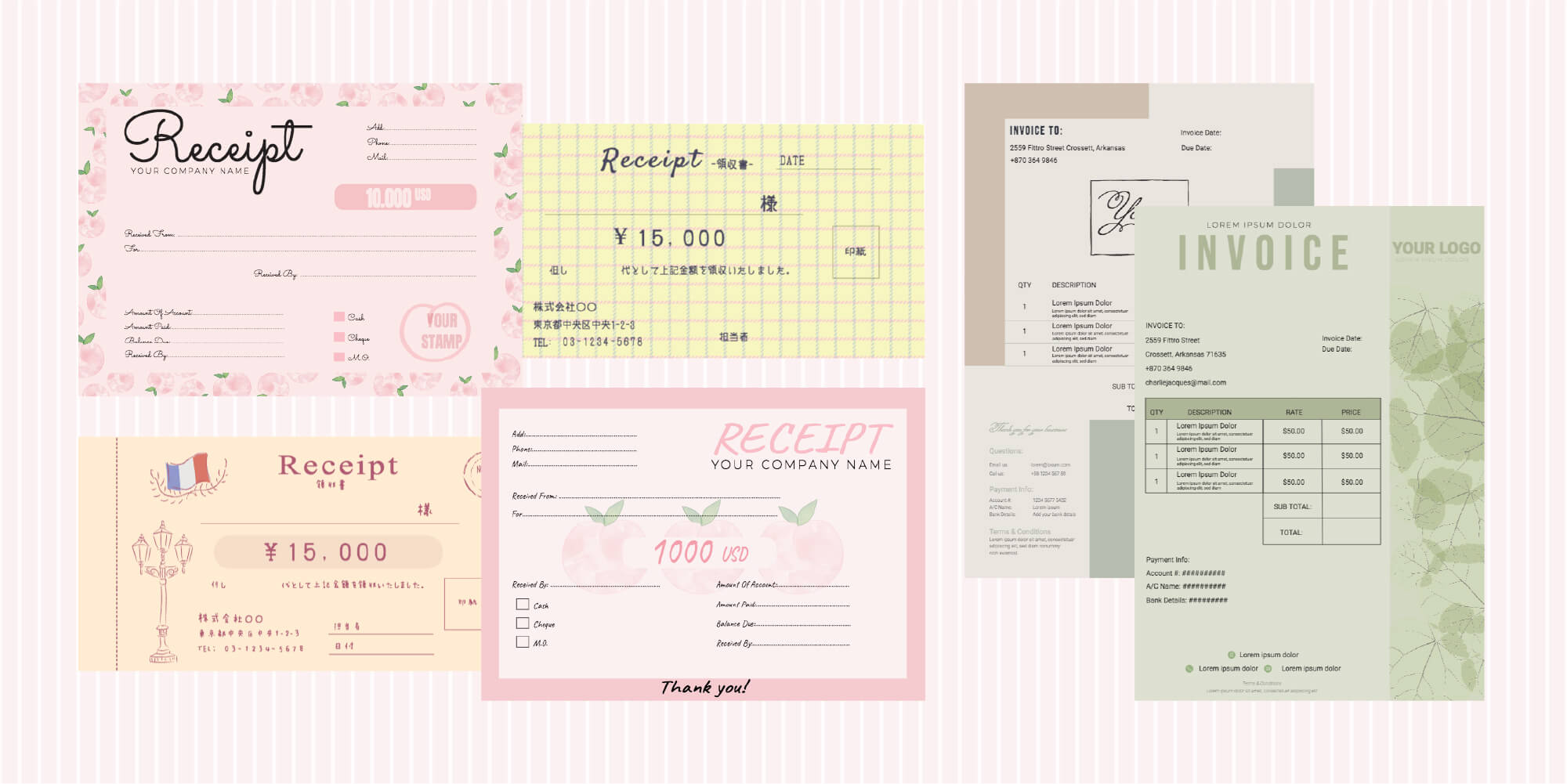 receipt and invoice templates